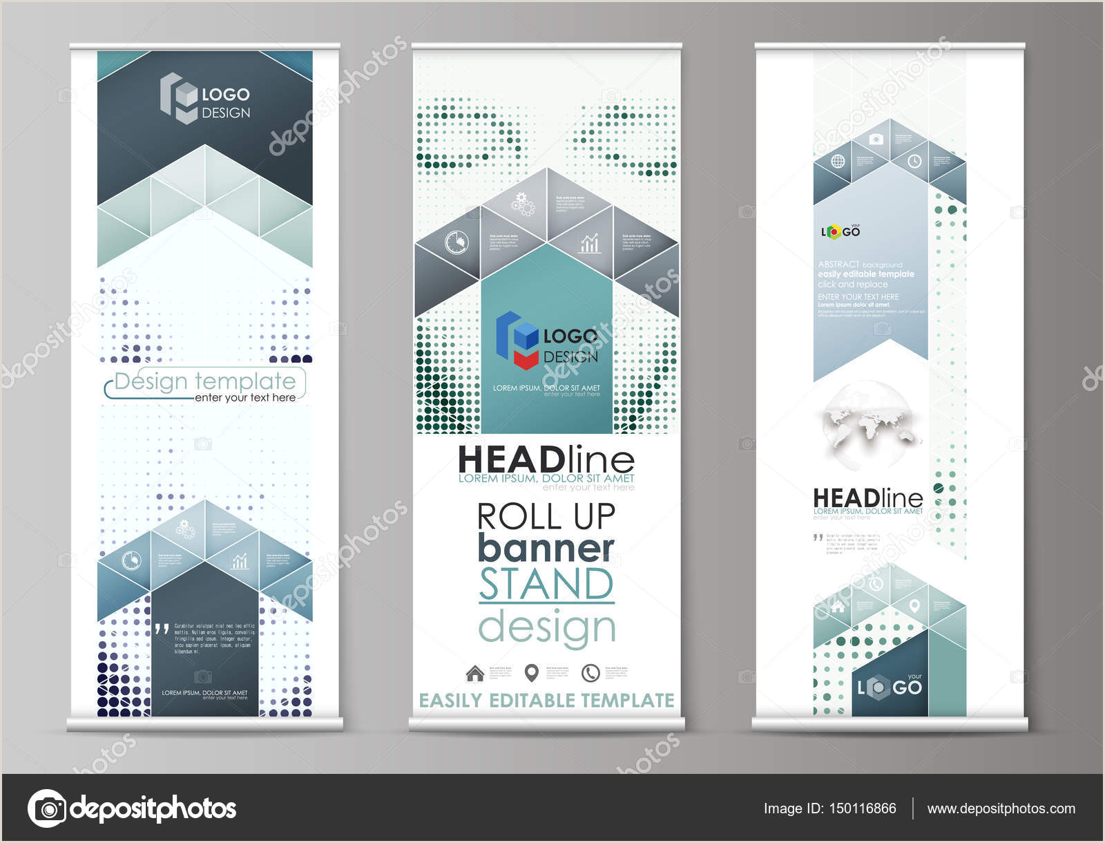 How To Make A Horizontal Banner Stand Roll Up Banner Stands Flat Design Templates Geometric Style Vertical Vector Flyers Flag Layouts Halftone Dotted Background Retro Style Pattern