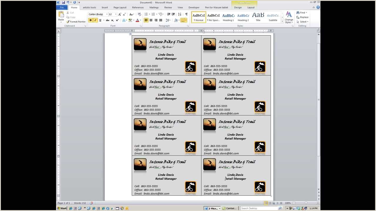 How To Make All Business Cards The Same In Word Word How To Create Custom Business Cards