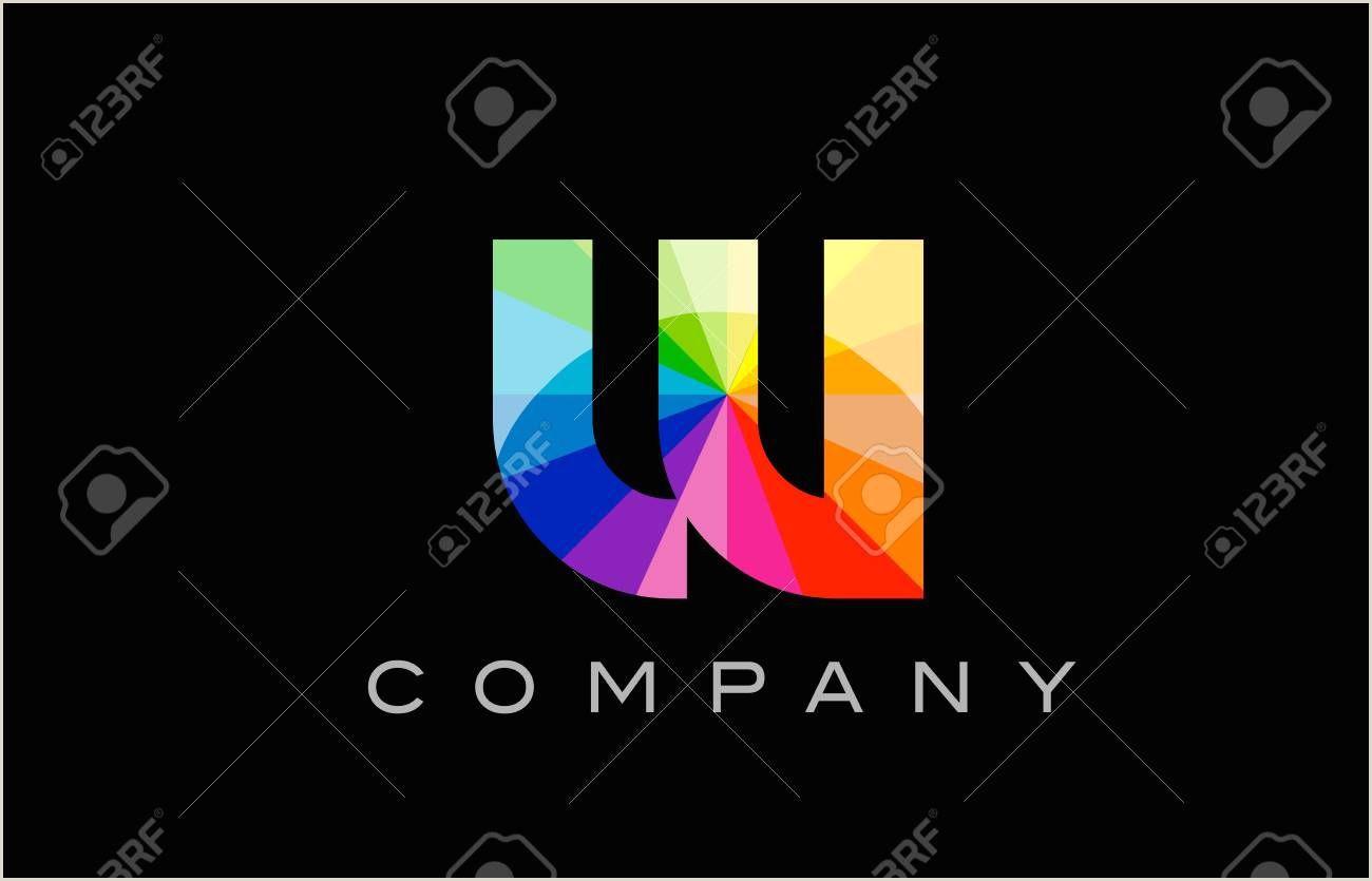 Icon For Business Cards W Alphabet Letter Mosaic Rainbow Logo Vector Creative