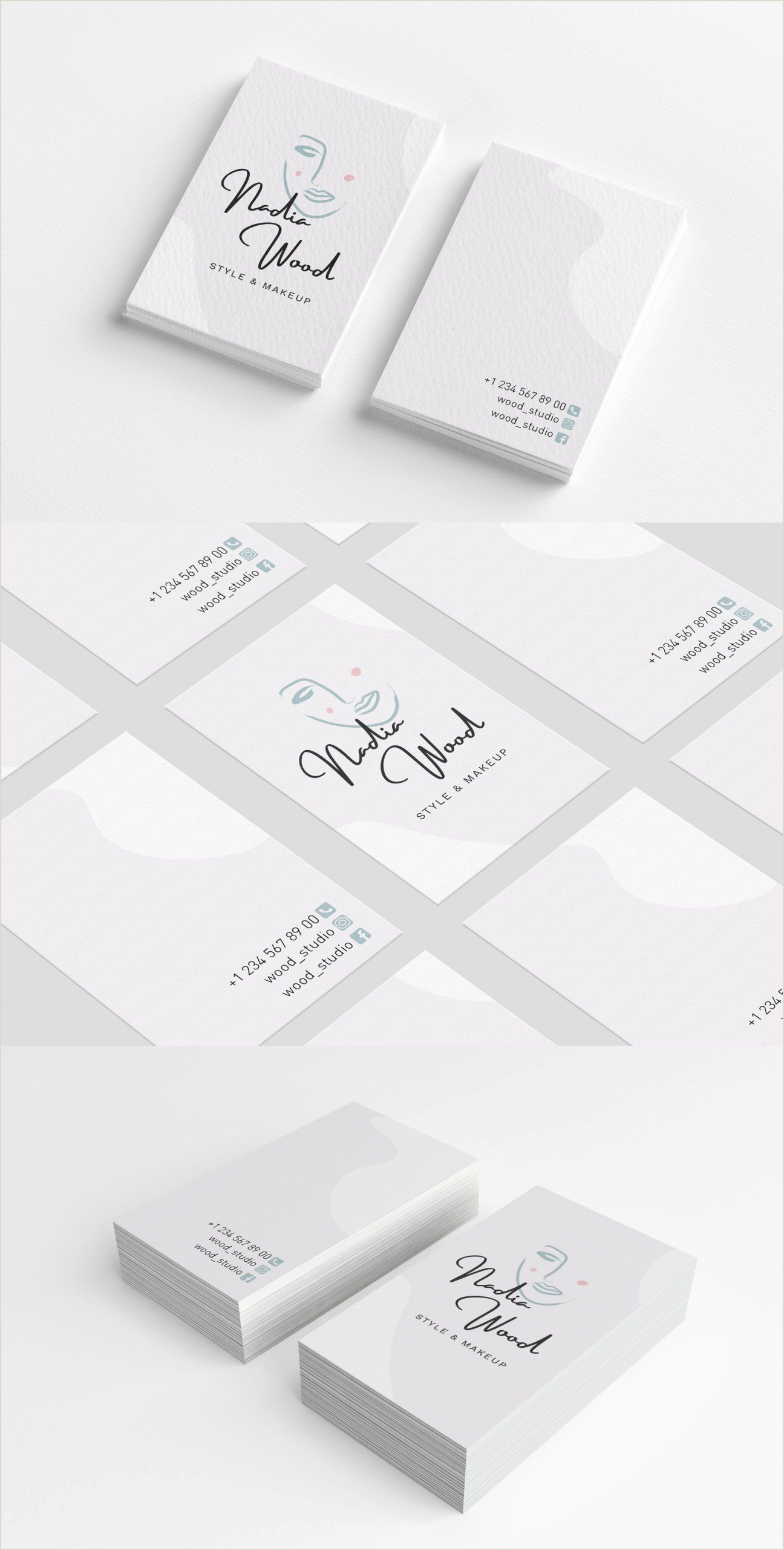 Illustrators Business Cards Style & Makeup Artist Business Card In 2020