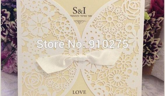 Information Card Templates wholesale Vintage Diy Laser Cut Lace Flower Wedding Invitation Template Invite Card Cover with White Bows Greetings Cards Line Greetings Christmas