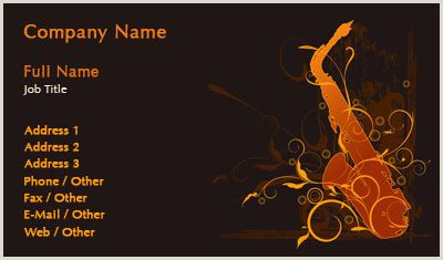 Jazz Saxophone Musician Business Cards Unique Black And Red Saxophone Silhouette Business Card Template