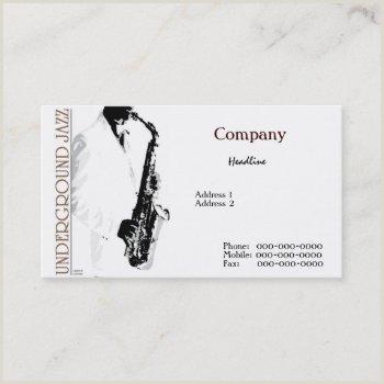 Jazz Saxophone Musician Business Cards Unique Jazz Musician Business Cards