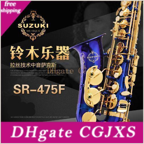 Jazz Saxophone Musician Business Cards Unique New Suzuki Sr 475 F Saxophone Alto Eb Tune Brass Saxophone E Flat Sax Unique Blue Surface Gold Lacquer Key Sax Music Instrument With Case Alto