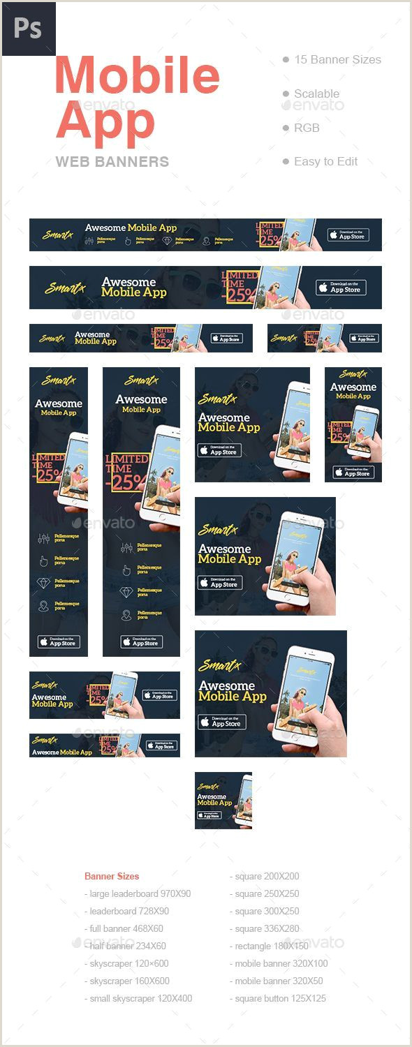 Large Banner Sizes Mobile App Web Banners Template Psd Download Here
