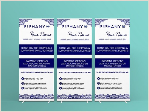 Large Pop Up Banner Piphany Roll Up Banner Product Display Vendor Show Blue Lace