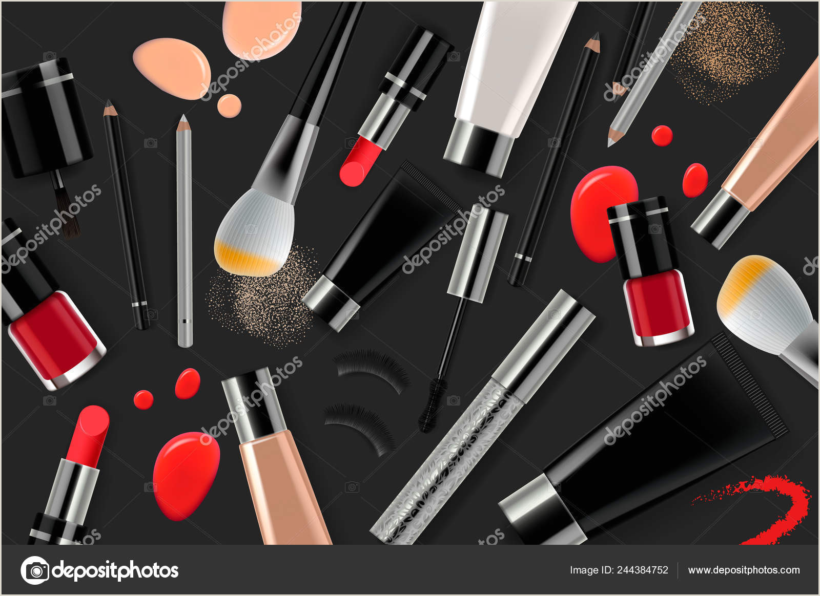 Make Up Banners Makeup Banner Template For Online Beauty Store Poster Design With Beauty Products And Cosmetic Line Shopping Vector Illustration