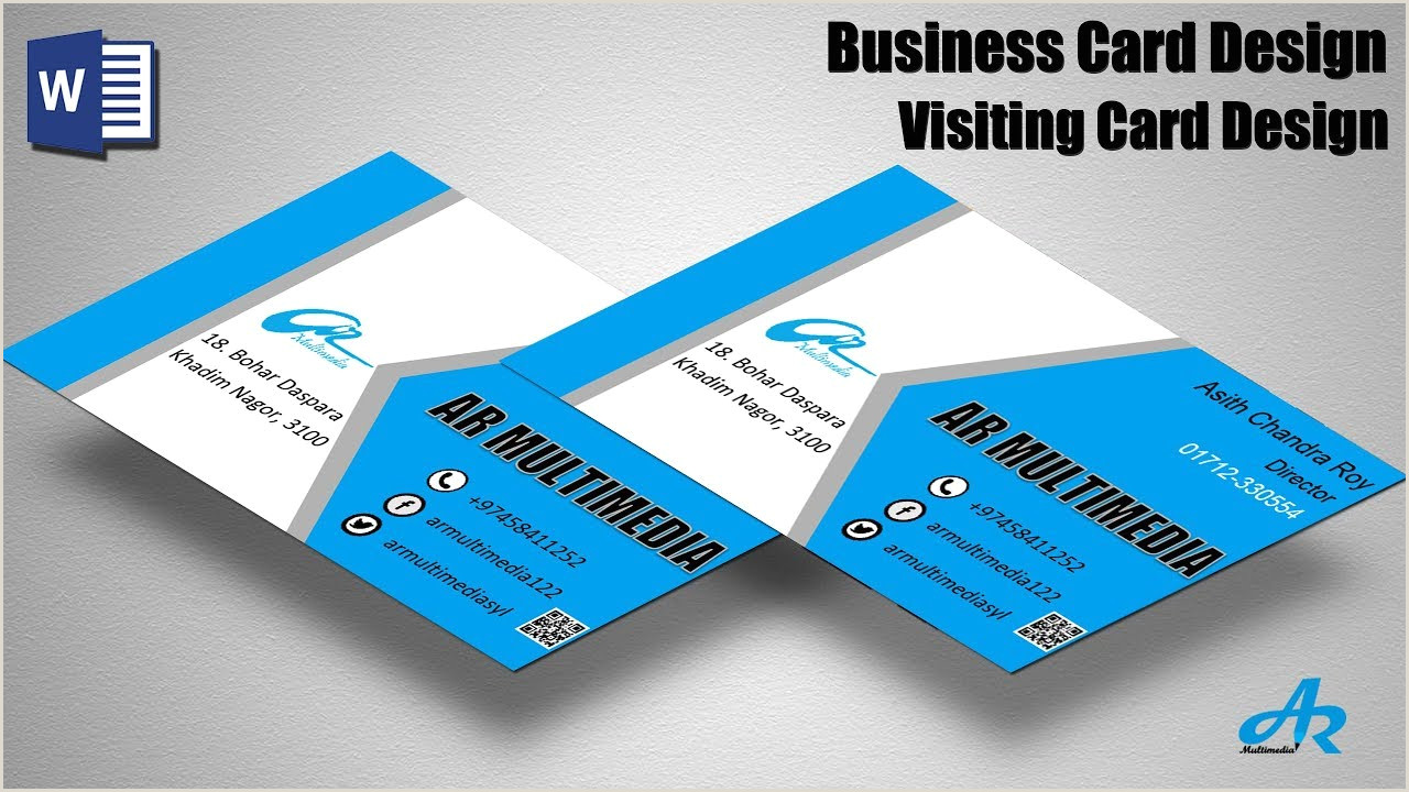 Making A Business Card In Word Ms Word Tutorial Create Professional Business Card Design Tutorial 2019 Create Business Card