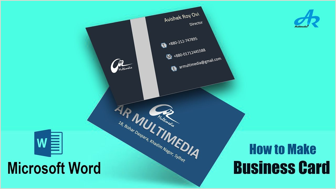 Making A Business Card In Word Ms Word Tutorial How To Make Business Card Design In Microsoft Word 2 Part Business Card Design