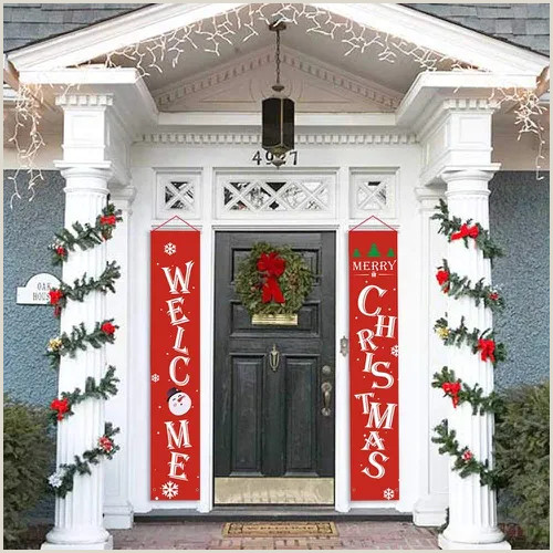 Office Max Banner 2pcs Christmas Banner Decorations Outdoor Indoor Merry Christmas Porch Sign For Home Wall Door Apartment Party Vova