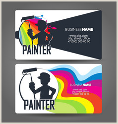 Painting Logos Business Cards House Painter Business Card Vector 85