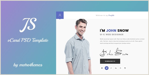 Personal Business Card Template Js Creative Vcard & Resume Portfolio Psd Template By