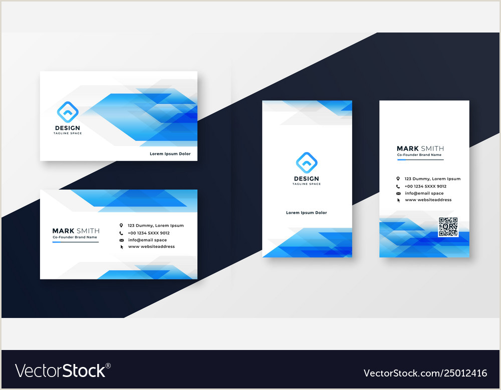 Personal Calling Card Designs Creative Blue Abstract Business Card Design Vector Image