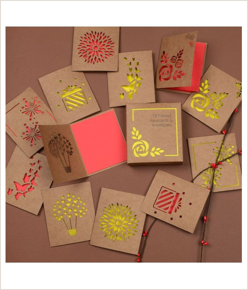 Personal Name Card Doodle Love And Light Yellow Set Of 12 Lasercut Gift Notecards Blank Cards To Write Personal Messages For Festive Ting