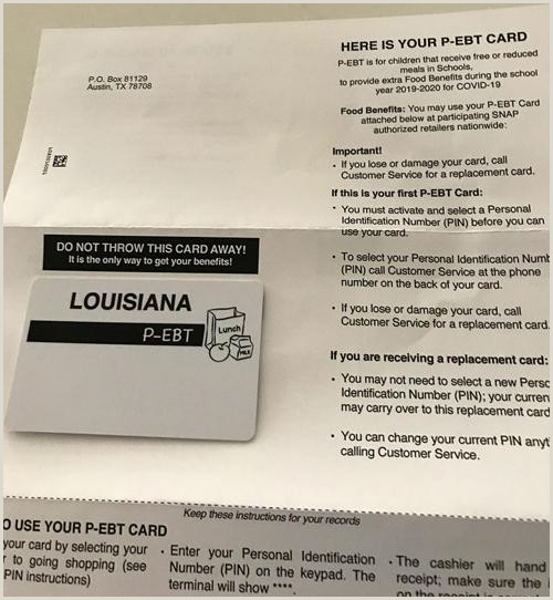 Personal Name Cards Don T Toss Louisiana Student Meal P Ebt Cards By Mistake