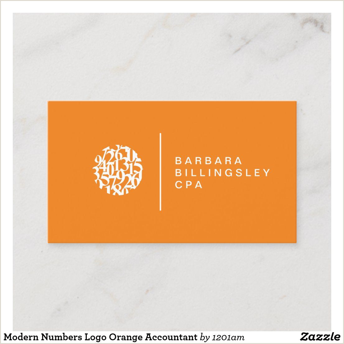 Phone Numbers On Business Cards Modern Numbers Logo Orange Accountant Business Card