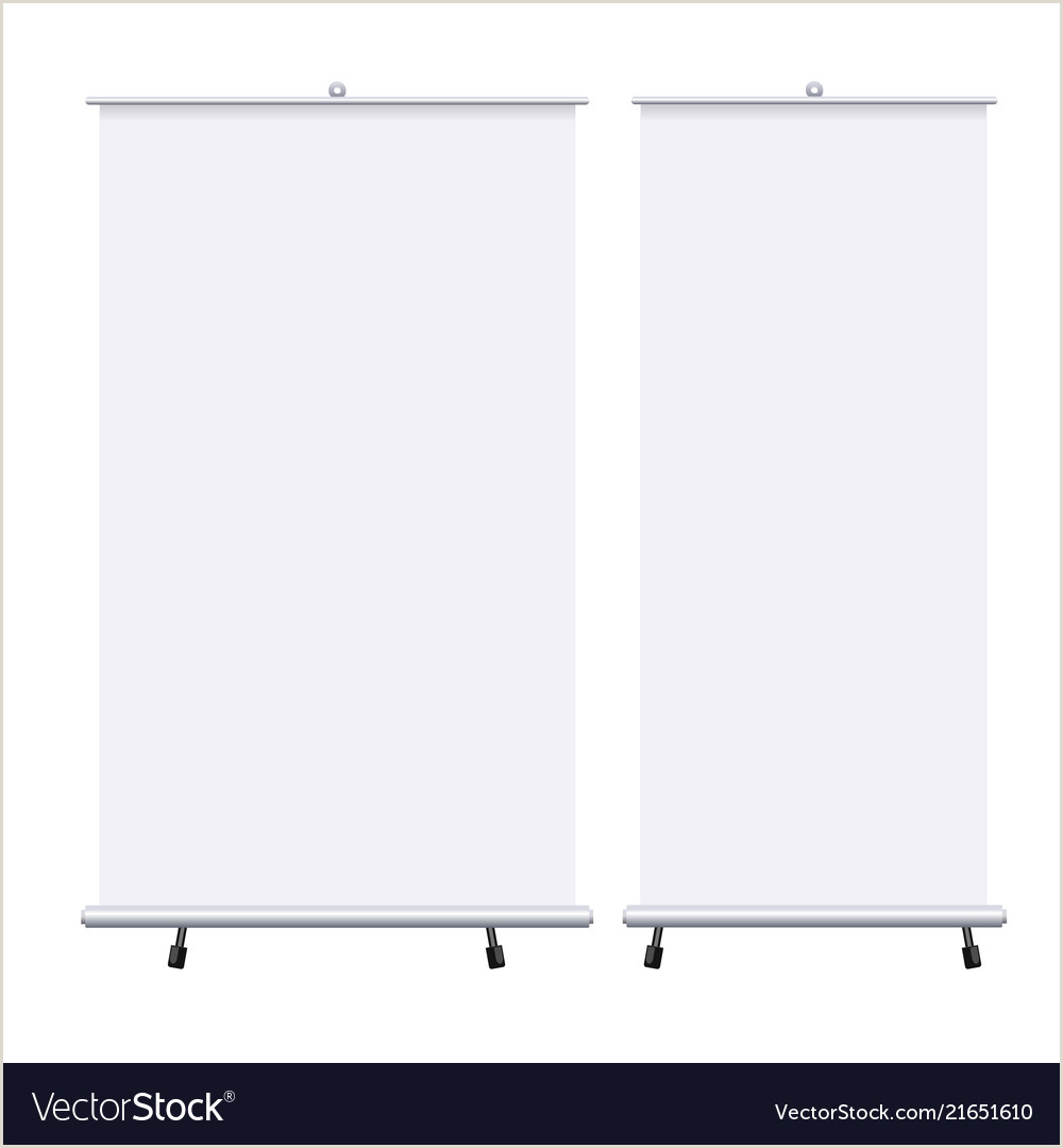 Pop Up Banners Stands Blank Roll Up Banners Set Isolated On The White Vector Image