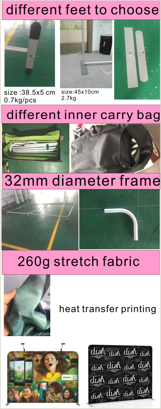 Portable Banner Displays Tension Fabric Exhibition Displays Straight Walls China