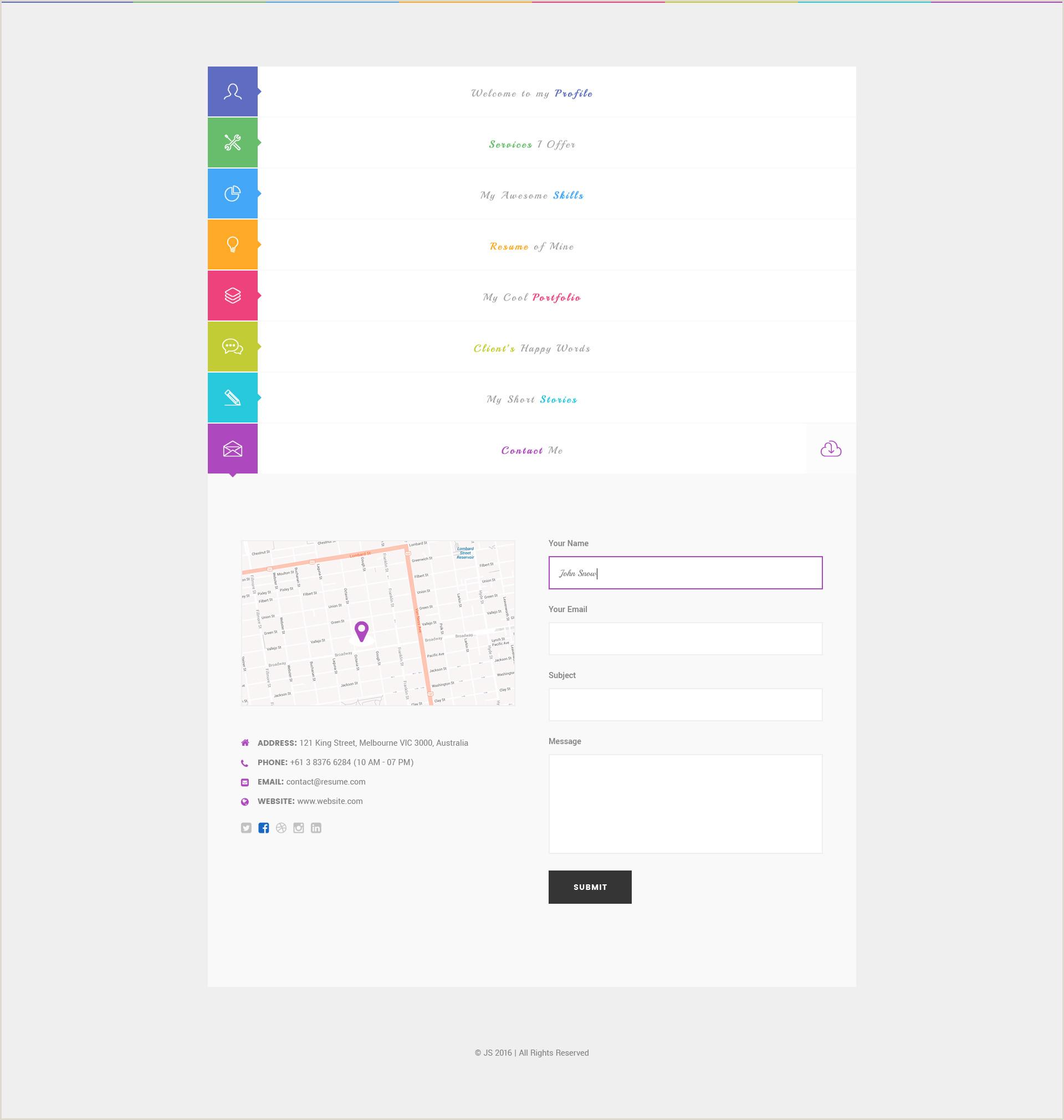 Portfolio Business Card Js Creative Vcard & Resume Portfolio Psd Template