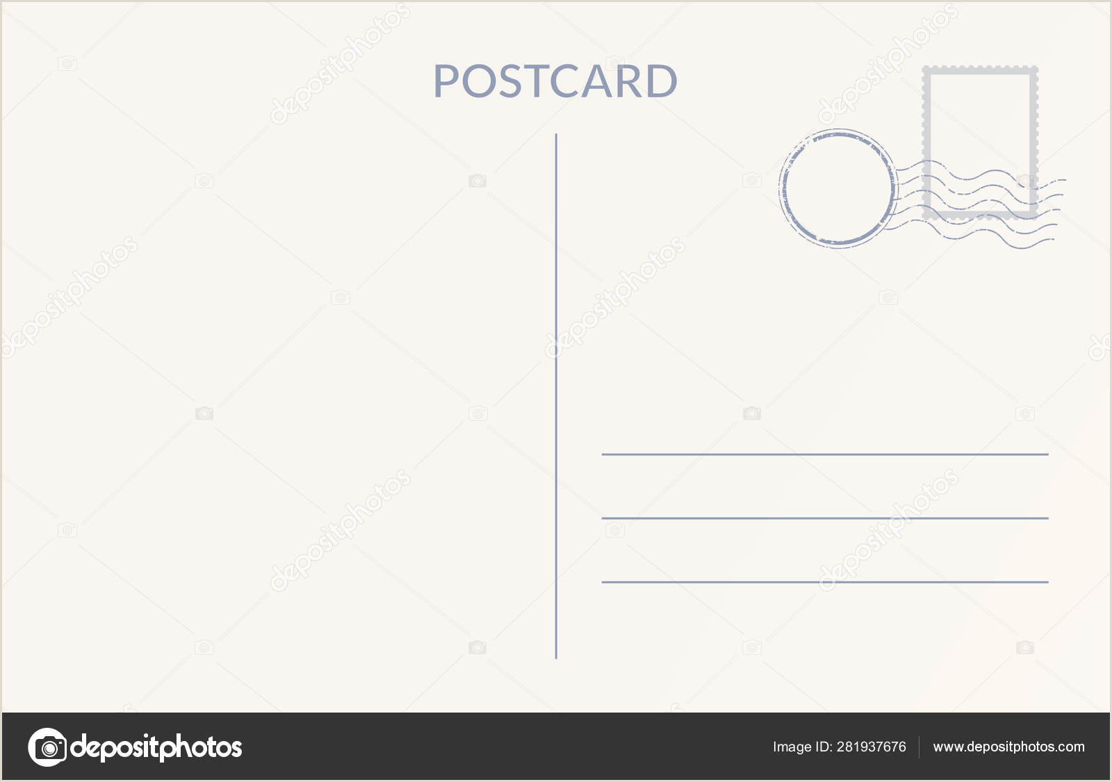Post It Business Cards Empty Postcard Template Design Of Blank Post Card Back