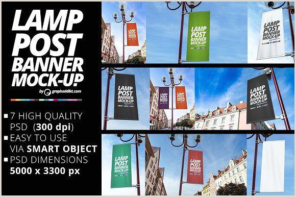 Post Up Banner Lamp Post Banner Mockups By Graphaddikt On Creativemarket
