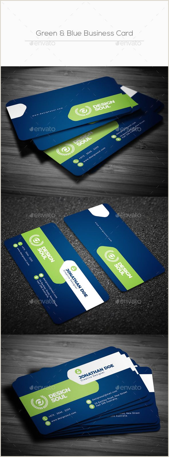 Professional Bussiness Cards Green & Blue Business Card Corporate Business Cards