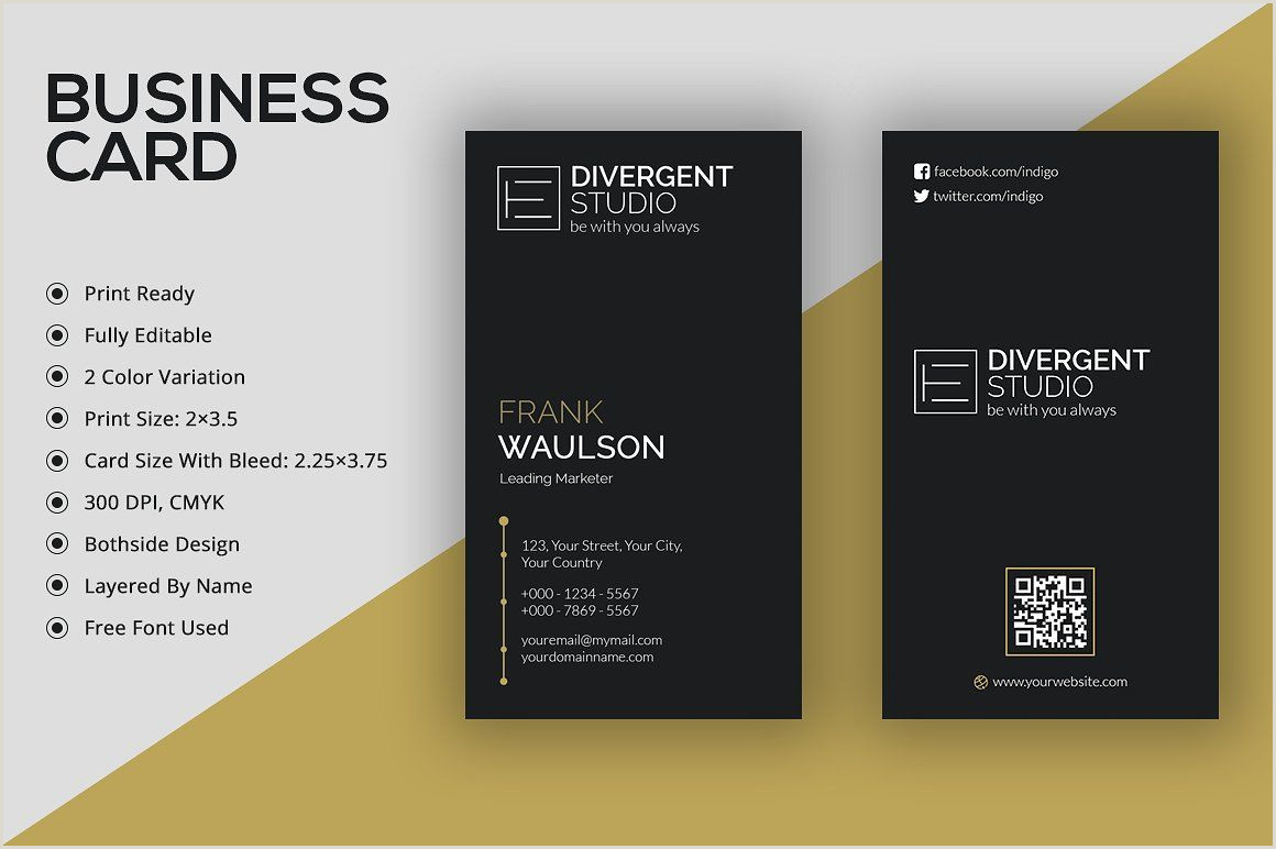 Professional Fonts For Business Cards Vertical Business Card