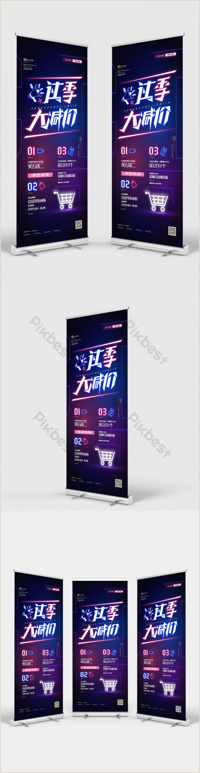 Promo Banner Stands Neon Light Off Season Sale Roll Up Standee Promotion Display
