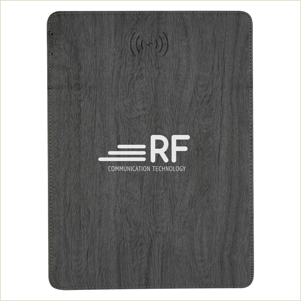 Promo Banner Stands Woodgrain Wireless Charging Mouse Pad With Phone Stand