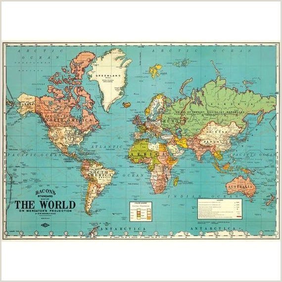 Pull Down Posters Vintage World Map Chart Poster Print Hanging Chart Pull