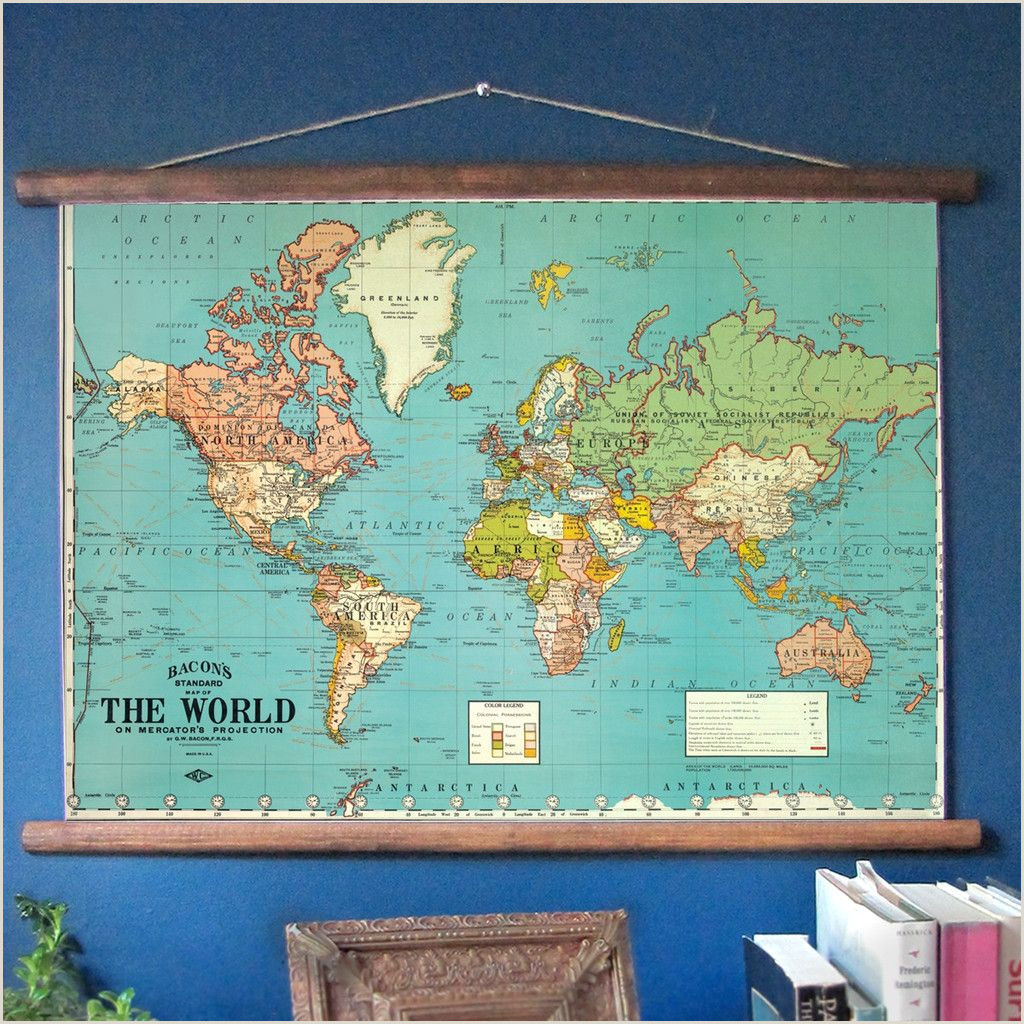 Pull Down Posters World Map Classroom Style Pull Down