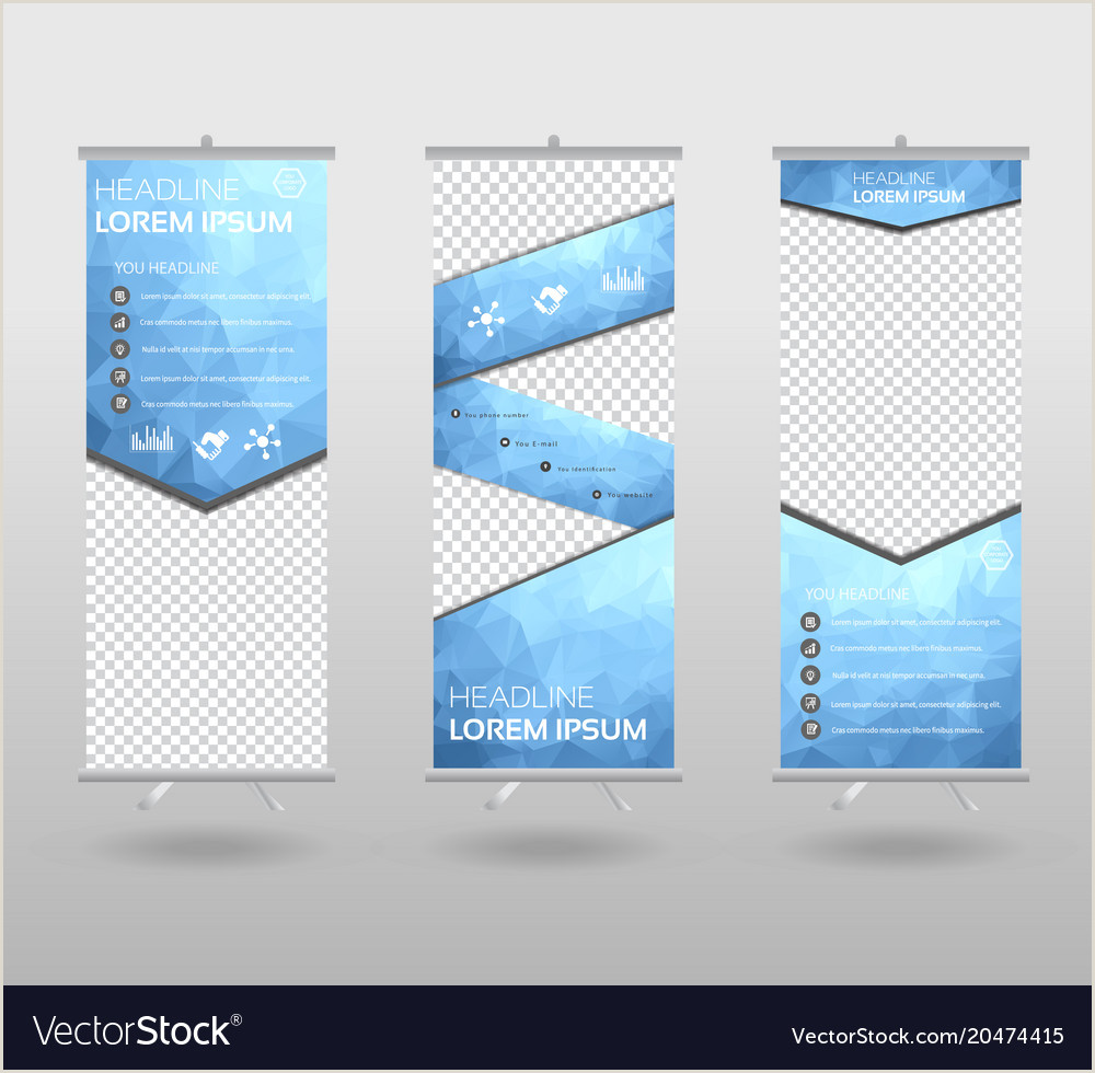 Pull Out Banners Red Roll Up Banner Template And Info Graphics Vector Image