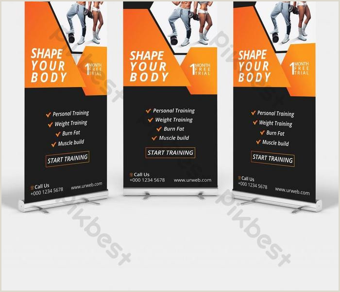 Pull Up Banner Design Fitness Roll Up Banner Design Template Vertical Pull Up