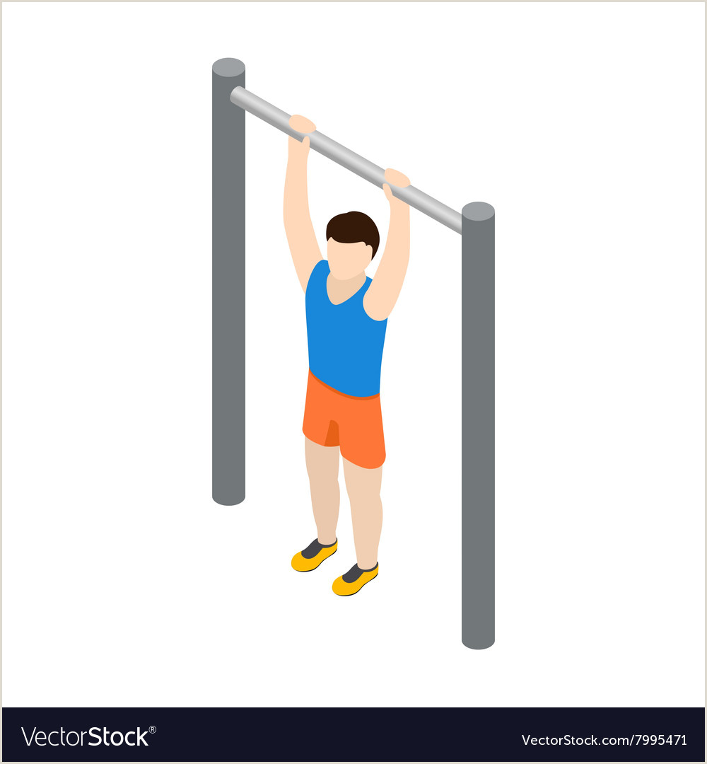 Pull Up Design Man Doing Pull Up Icon Isometric 3d Style
