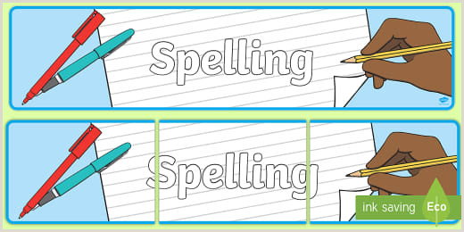 Pull Up Signage Free Spellings Display Banner Teacher Made