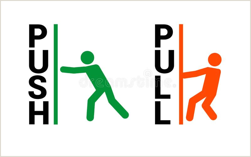 Pull Up Signage Pull Or Push Door Signs Stock Vector Illustration Of