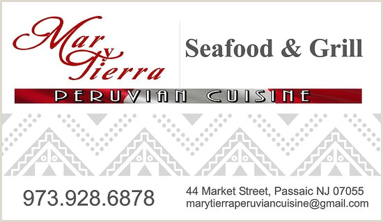 Real Business Cards Business Cards Picture Of Mar & Tierra Peruvian Cuisine