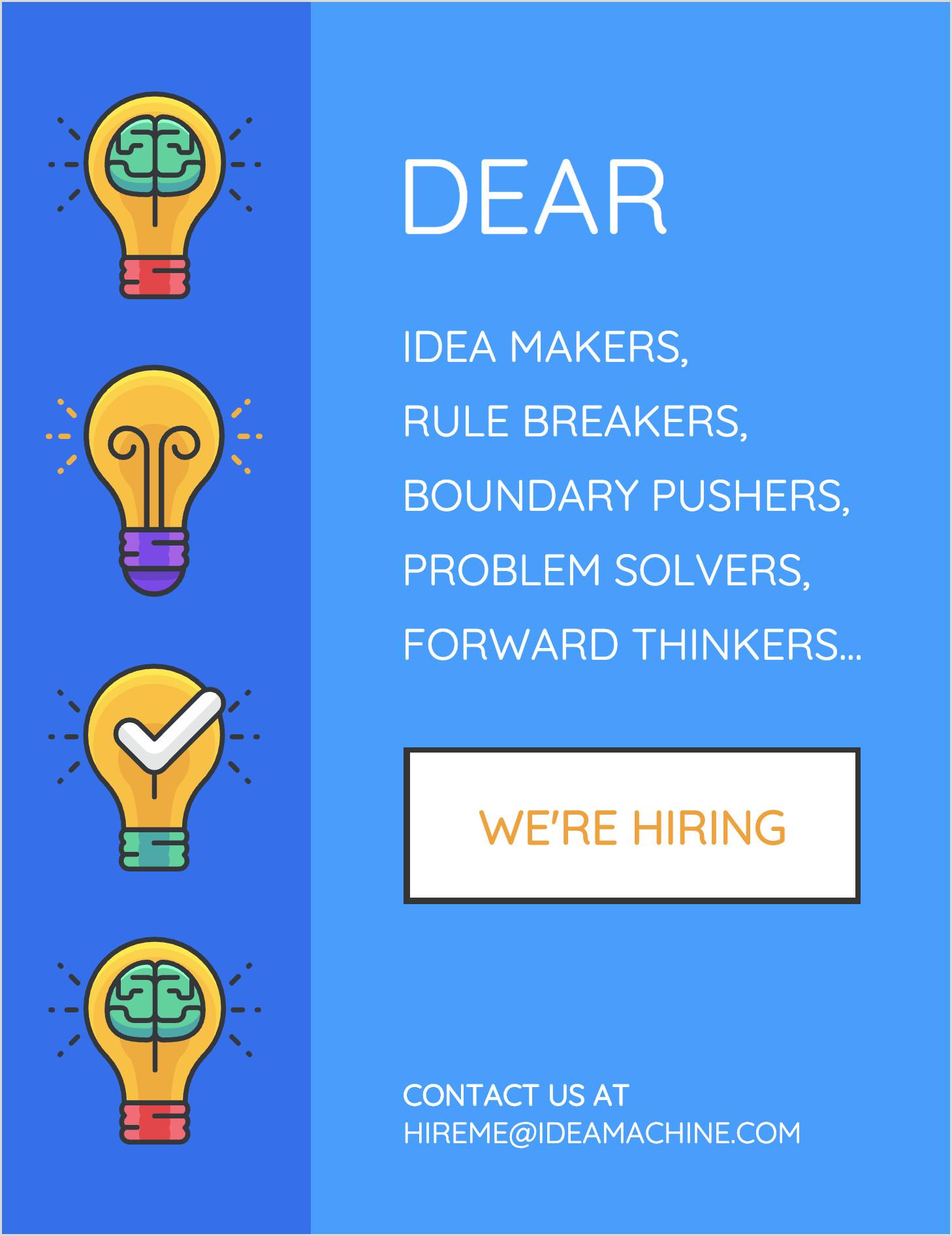 Recruiting Banner Ideas Blue Now Hiring Flyer Template