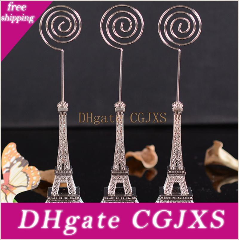 Retail Business Cards Wedding Gift 16 5cm Paris Eiffel Tower Card Holders Brozen Place Name Business Card Holder Clip Message Board Clip Party Boxes Favors Party