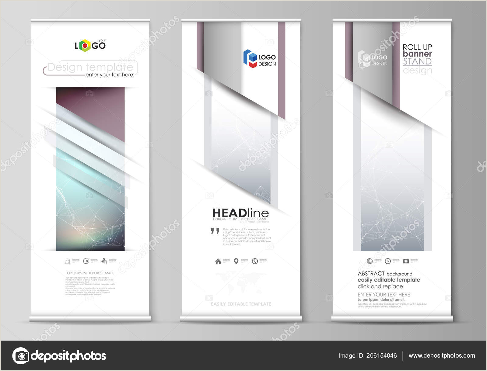 Retractable Banner Design Ideas Roll Up Banner Stands Abstract Geometric Design Templates Vertical Vector Flyers Flag Layouts Pounds Lines And Dots Big Data Visualization In