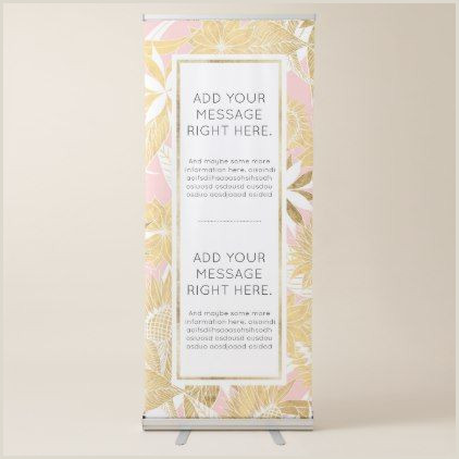 Retractable Hand Banner Chic Elegant Gold Pink White Flowers And Leaves Retractable