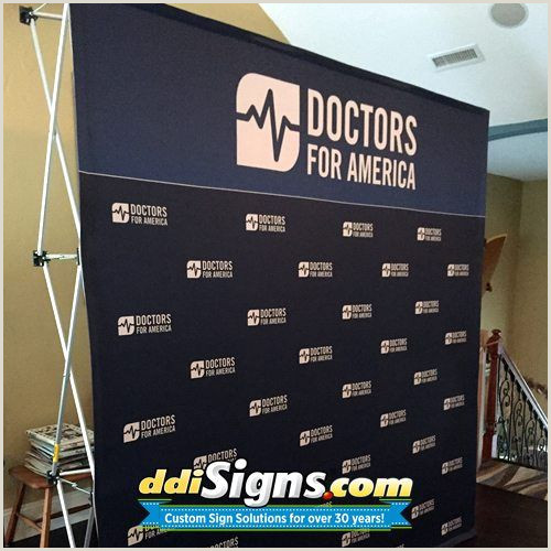Retractable Step And Repeat Banner Ddi Signs Pop Up Political Press Backdrop For Doctors For