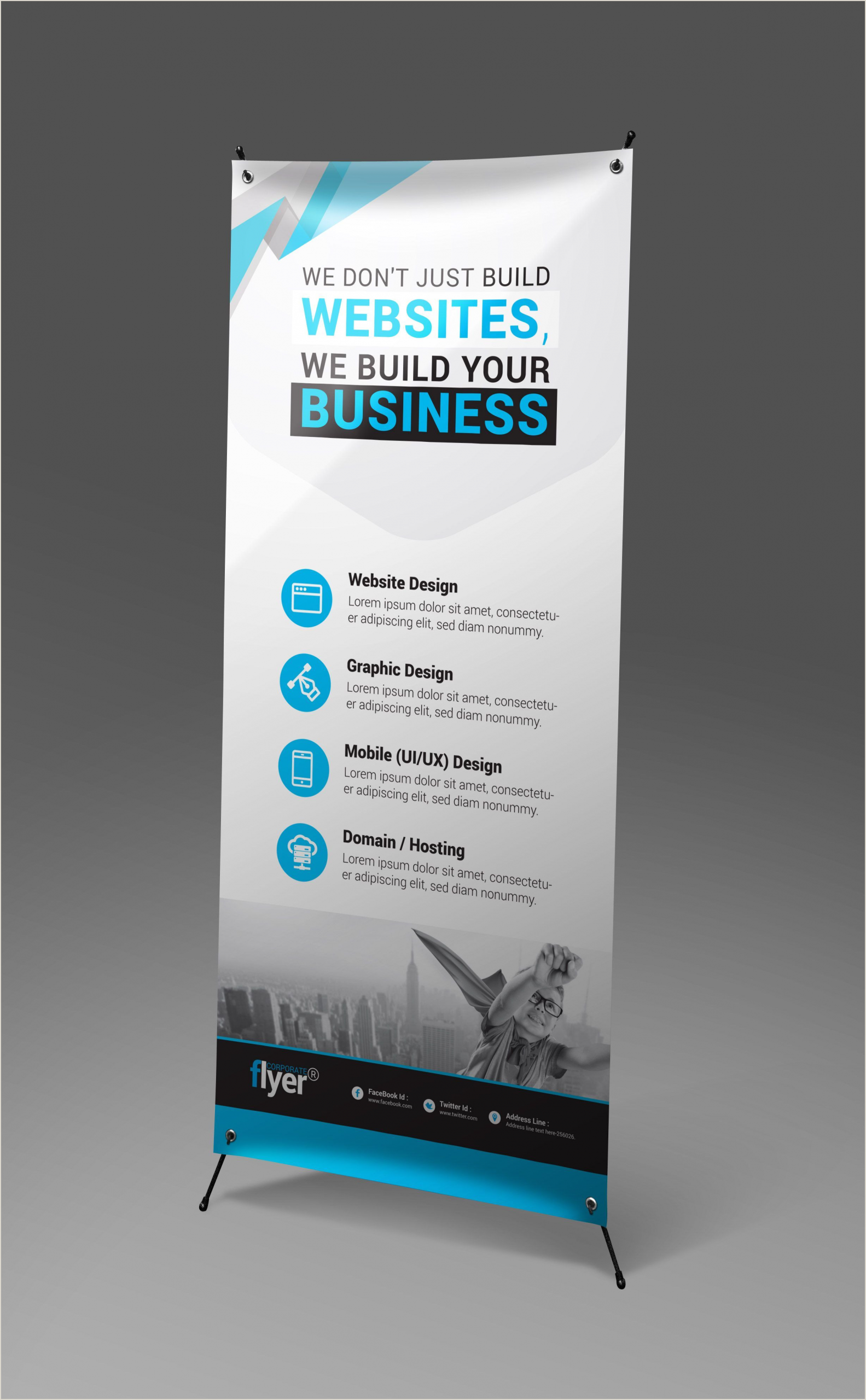 Roll Out Banner Construction Roll Up Banner Design Template Graphic