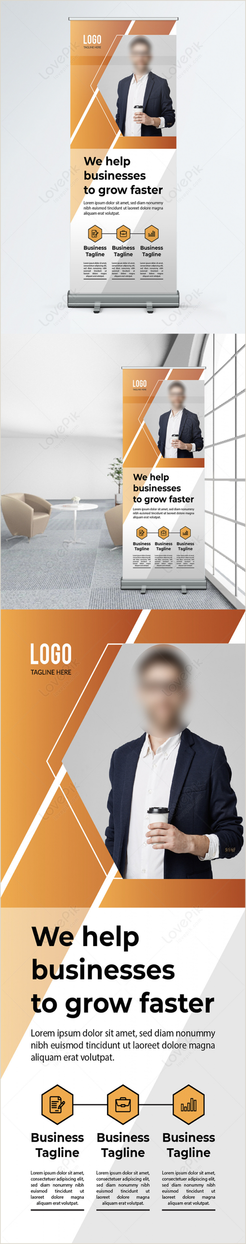 Roll Up Advertising Banners Modern Marketing Agency Promotion Roll Up Banner Template