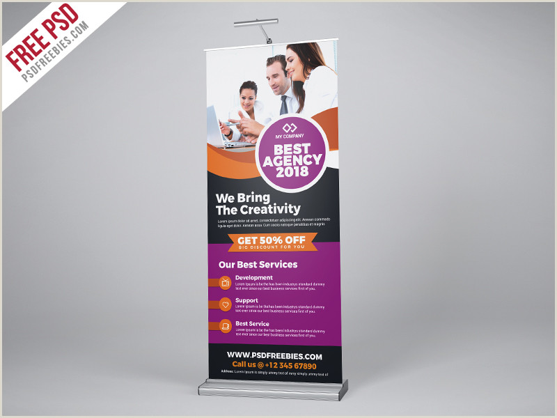 Roll Up Advertising Banners Professional Agency Roll Up Banner Psd Template