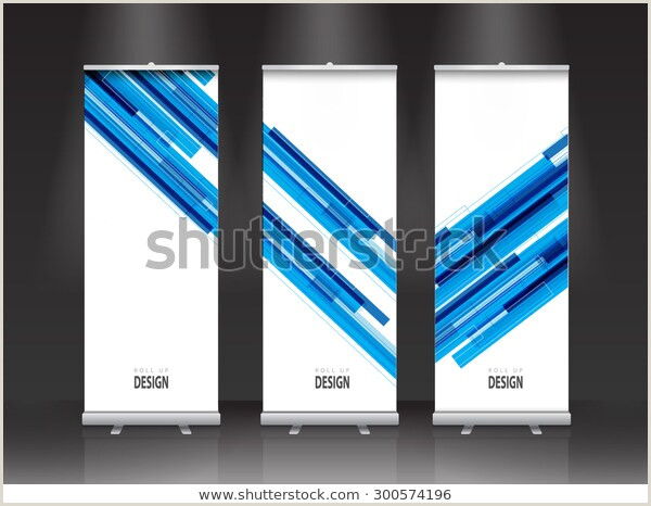 Roll Up Banner Stand Roll Banner Stand Design Vector Blue Stock Vector Royalty