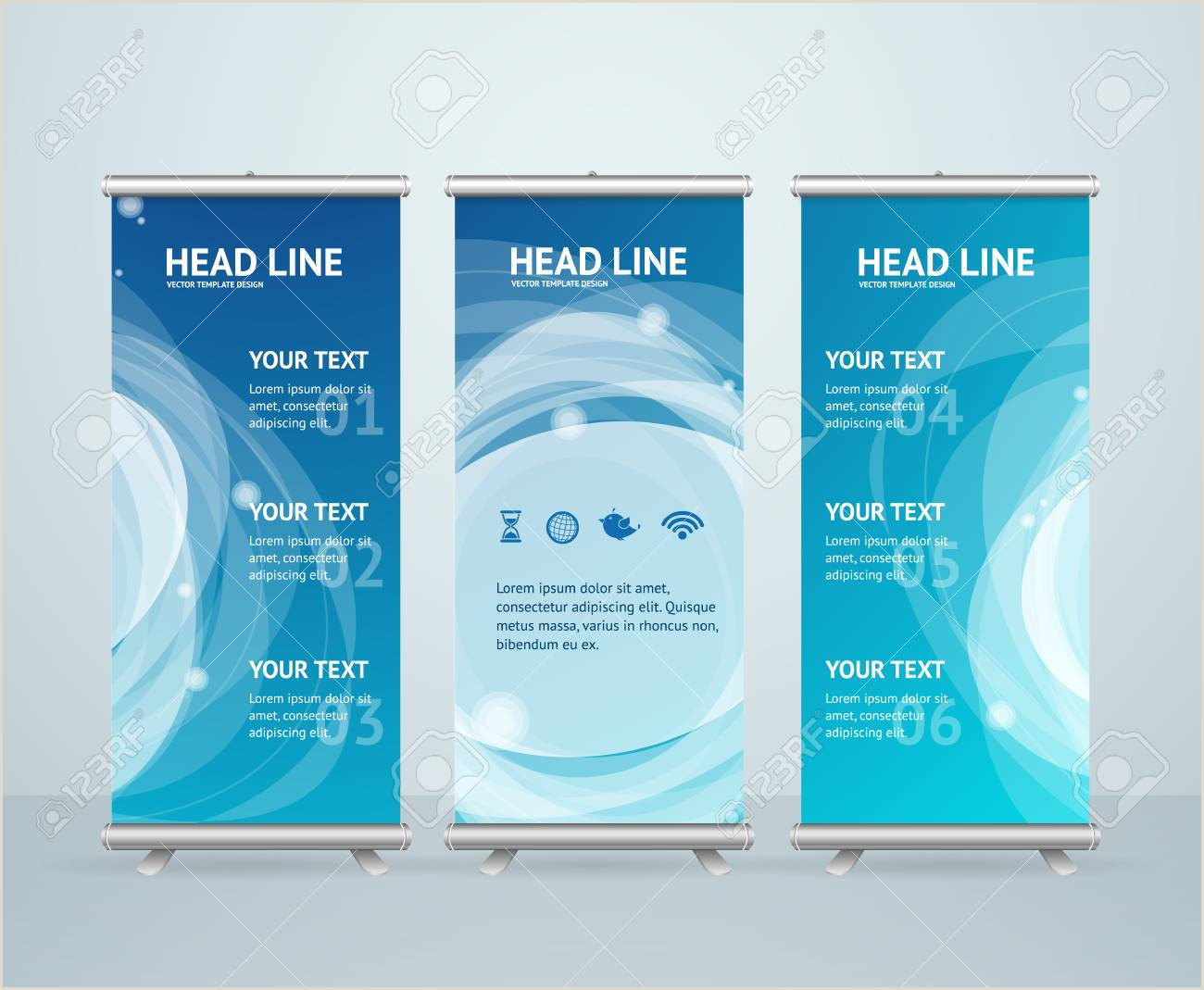 Roll Up Banner Stand Roll Up Banner Stand Design With Abstract Blue Wave Vector Illustration