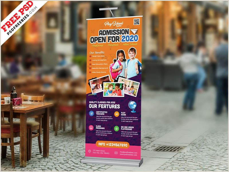 Roll Up Display Banner A4 Psd Mockup For Poster Banner Letterhead Invoice
