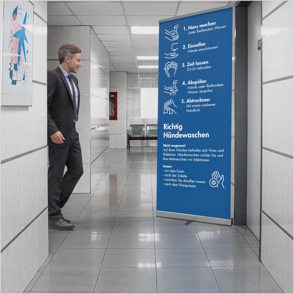 "Roll Up Display Banner Roll Up Display Easy Inkl Druck Mit Motiv Covid 19 ""wichtige Hygieneregeln"""