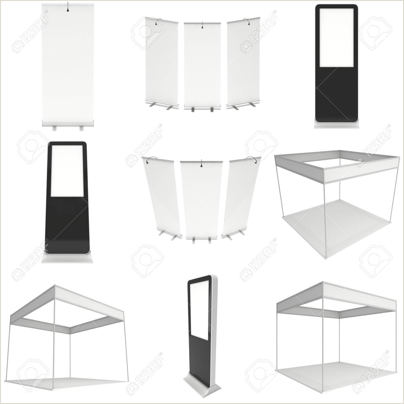 Roll Up Display Stand Trade Show Booth Set Roll Up Pop Up With Lcd Screen Floor Stand